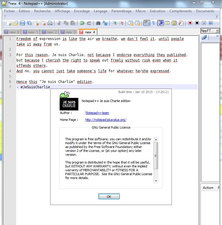 "Notepad++ ""Je suis Charlie"" Edition"